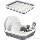 Очень удобная раскладная сушилка для посуды KitchenCraft силиконовая + поддон (в подарок)
