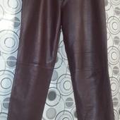 Кожаные штаны с высокой посадкой, цвет марсала, размер 16(42). Читайте пож. описание!!