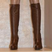 Невероятные, кожаные сапоги шоколадного цвета San Marina