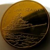 """#8 монета Польша, юбилейная, 2 злотых, 2013, польские суда - ракетный эсминец """"Варшава"""""""