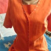 Костюм двойка оранжевого цвета из льна на 44-46(укр.)