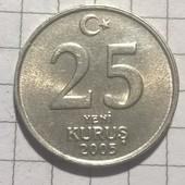 Монета Турции 25 курус 2005
