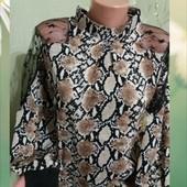 Стильная женская блузка с шифоном на рукавах,расцветка тренд 2021