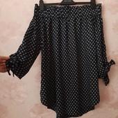 Красивая блуза с открытыми плечами , приятная вискоза ! УП скидка 10%