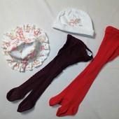 ЛоВиЛоТы! Две пары колгот , шапочка и панамка на 6-12 мес.