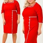 Новое, Красное трикотажное платье на р. 58 ( по бирке 60)