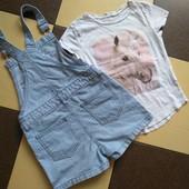 Одним модным лотом /джинсовый ромпер/комбинезон+футболка