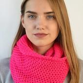 """Снуд--хомут-шарф из коллекции """"Азазель"""", цвет фуксия, акриловая пряжа"""