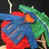 Две куртки ветровки брендовые, р. 90-98