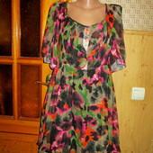 Качество! Платье, шифон на натуральной подкладке от бренда Next, в отличном состоянии