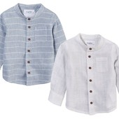 Стильная льняная рубашка lupilu германия на мальчика 4-6, 6-12, 12- 18 мес. Размер на выбор.