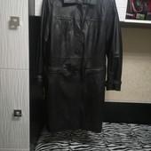 Кожаное утеплённое пальто р 48-50