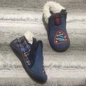Мягусенькие теплые комнатные тапочки ботиночки на змейке 21 размер
