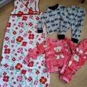 Спальник и 2 пижамки на девочку 1-2 года