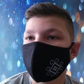 Очень удобная трикотажная фабричная маска на крупное лицо с вышивкой оберега