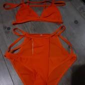 Купальник оранжевый рай в стиле Victoria's Secret неоновый полосы очень плотный крутое качество