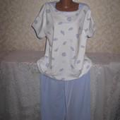 Тёплая мягенькая коттоновая пижама 18р., грудь 64, 100% коттон