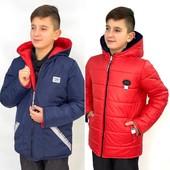 Демисезонная двухсторонняя курточка для мальчиков, 128, 134, 140 рр.