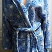 Теплый мягкий пушистый халат с капюшоном, микрофибра, Пог71, сост.без следов носки