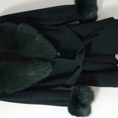 Пальто кашемир мех песец 46-48 размер Италия