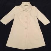 Шикарное Белое пальто, ткань набивной узор , лёгкое, демисезон