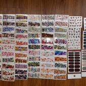 Все что на фото! Наклейки для ногтей! 67 узоров! Не повторяются, все разные!