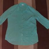 Фирменная, бирюзовая, жатая, удлинненая под поясок блуза C&A р.L б/у в отличном состоянии