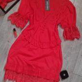 Крутое ярко красное платье гирюр ажур очень необычное