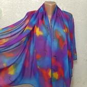 Шикарный нарядный яркий широкий шарф палантин парео 150/95 Новый Акция читайте