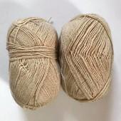 Нитки. Пряжа для вязания. Шерсть или полушерсть. Лот 173 грамма