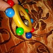 деревянная погремушка колечко с бубенчиком, игрушка