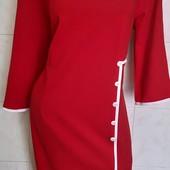 Новое, Красное трикотажное платье на р. 50 ( по бирке 52)