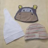 3 шапочки на малыша 0-2м