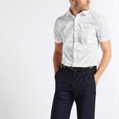 ☘ 1 шт ☘ Сорочка скінні з короткими рукавами з бавовни Marks & Spencer (Англія) воріт: 41 (ХL)