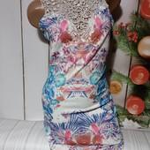 Вау! Бомбезное платьице с кружевными вставками размер XS