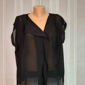 Фирменная блузка h&m черная прозрачная блуза рубашка без рукавов