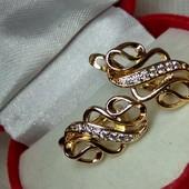 Нежные серьги с белым цирконом, позолота 585 пробы с цирконим