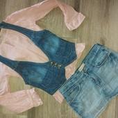 Модный лук на девочку 8-11лет (юбка , жилетка, блуза)
