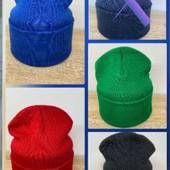 Стильная теплая двойная шапка лопата унисекс синяя'зеленая. Черная на выбор!!52_56рр