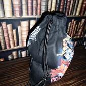Большой вместительный рюкзак для обуви, учебников, покупок Плотный текстиль, прочные веревки. 47*35