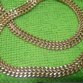 Шикарная широкая цепочка,красивое плетение,двойное панцирное,позолота 585 пробы,ширина 8мм,длина57см