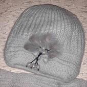 Последний Набор шапка двойная теплая и шарф.... мех норки