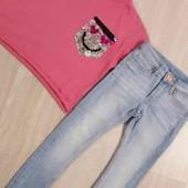 Стоп! крутий брендовий  комплект!джинси скіні і топ. на дівчинку 4-6р