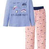 Германия!!! Симпатичная пижама с радугами и байковыми тонкими штанами для девочки! 86/92!