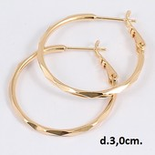 очень красивые узорные круглые серьги-кольца Ø-3 см, позолота 585 пробы