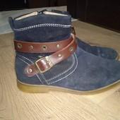 Деми ботинки натуральная замша и кожа 37рпзмер 24см