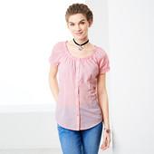 Блуза с коротким рукавом в мелкую клеточку от Tchibo(Германия), размеры наши: 46-48 (40 евро)