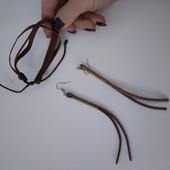Стильный комплект серьги висюльки, браслет