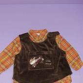 Рубашка баевая с жилеткой на 12-18мес
