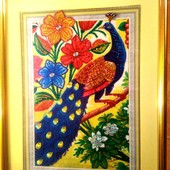 Мозаика из цветных кристаллов,картина золотой павлин удачи из страз,ручная работа,картина 30х40,